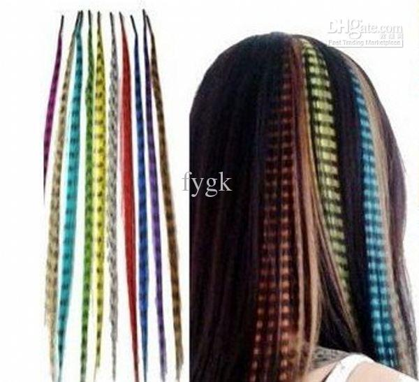 Fashion 16 Inch Long Synthetic Grizzly Rooster Feather Hair Extension Feathers Extensions