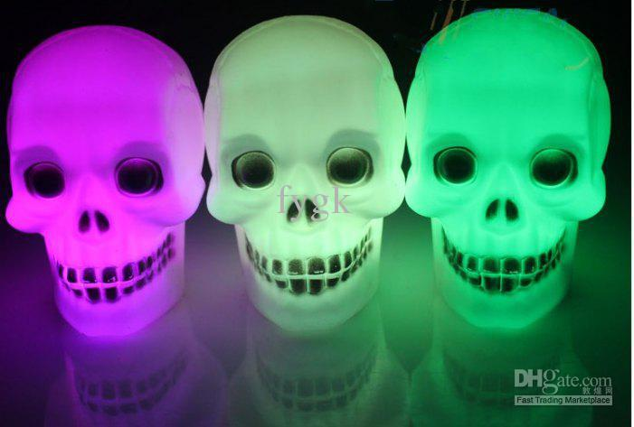 2017 halloween skull led decorations night light electronic colorful change colors small night light from toy2011 3468 dhgatecom - Solar Halloween Decorations