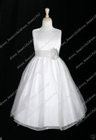 Wholesale Tea Length Actual Image - FREE SHIPPING WHITE ORGANZA PARTY WEDDING PRINCESS FLOWER GIRL DRESS