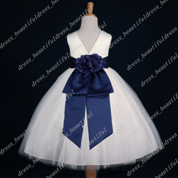 Wholesale Dress Sellers - Top Sellers! IVORY NAVY BLUE FLOWER GIRL DRESS