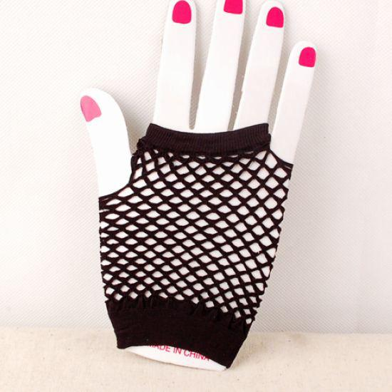 Fingerless handskar mycket helt ny högkvalitativ fisknäthandskar mode halvfinger fishnet handskar gratis frakt