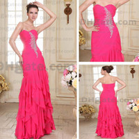 Wholesale Actual Prom Dress - Fuchsia Evening Dress Mermaid Side Slit Chiffon Floor Length Ruffles Prom Gowns Real Actual Image DHYZ 02