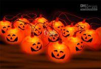 Wholesale Lantern Light Set - 16pcs strings 5 sets Halloween props haunted bar decorative pumpkin string lights pumpkin lanterns