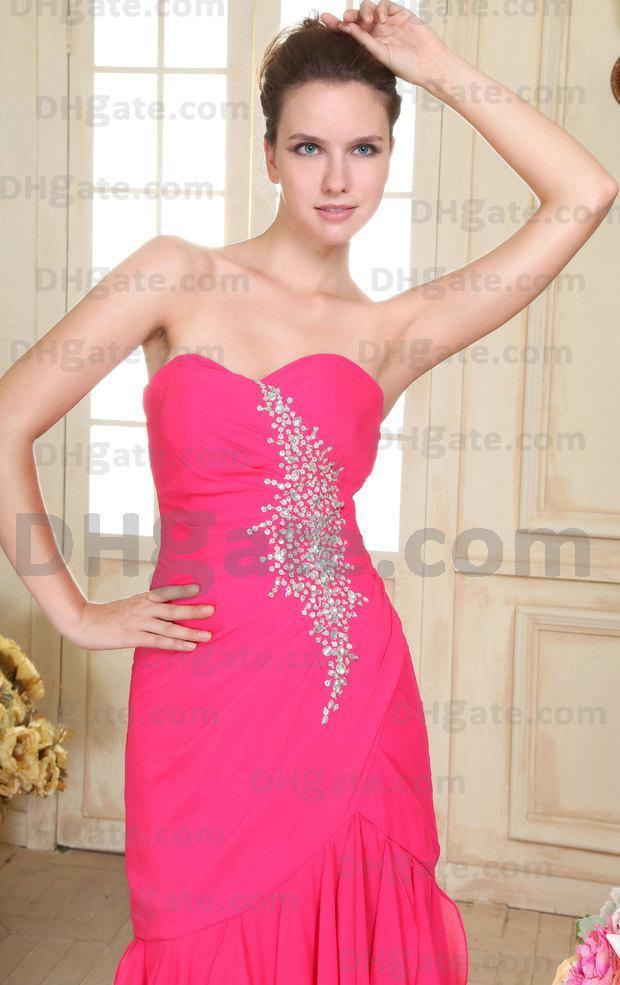 Nouvelle Arrivée Chaude !! Rose Perlée Une Ligne Sweetheart Party Robes De Bal PD017