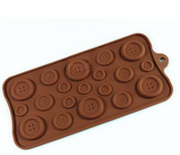 Wholesale Chocolate Cupcake Toppers - Hot Sell Best Buttons Chocolate Candy Mold Cupcakes Topper Silicone Bakeware Cookie Mould Sugarpaste Free Shipping