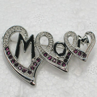 Wholesale Wholesale Mom Pin - Wholesale Fashion Brooch Rhinestone Enamel MOM Love Heart Pin brooches Jewelry Gift C101744