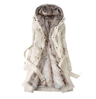 Wholesale Ling Winter Coats - 2012 Hot sell! New Hooded Women's Fur Winter With Faux Fur Ling Long Coat Outerwear size S L XL XXL
