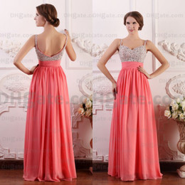 Wholesale hottest plus size models - Best Selling!! 2015 A-line Best Selling Hot Fashion Sparkly Party Beaded Chiffon Coral Prom Dresses Designer Occasion Dresses PD034