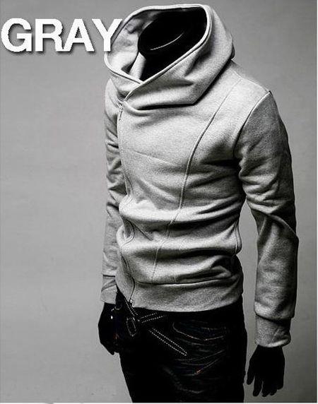 Assassin's Creed Mens Slim Fit Oblique Zipper Jackets Stand-up Collar Hoodie Coats US XS-L Asian M L XL XXL