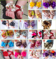 Wholesale Girls Lace Flower Sandals - baby Slipper Sandals Barefoot shoes Foot Flower Ties Toddler Shoe Infant crochet