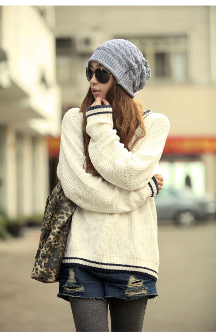 Fashion Winter Women Beanies Warm Knitting Hats Triangular Pattern Hot Selling Couple Caps