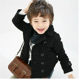 Wholesale Double Breasted Boys Suits - Black Rib small suit 2012 children's clothing coat double-breasted boys jacket Flax