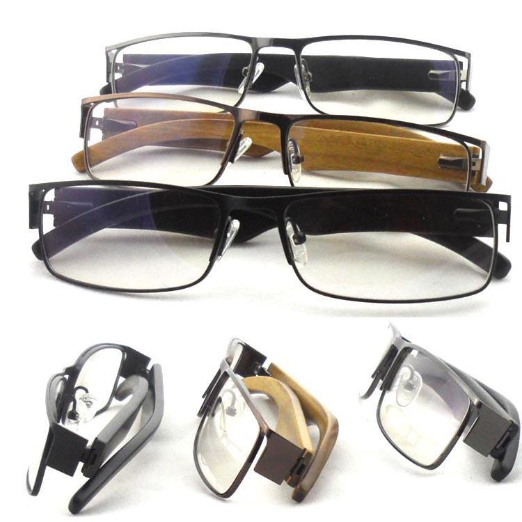 Full Rim Wood Glasses Fashion Man Square Eyewear Wood Temple Optical ...