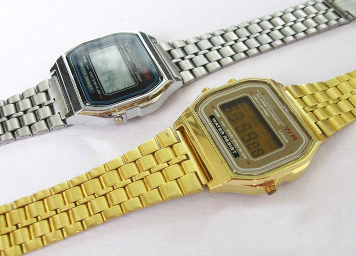 27be23fb190 Gold And Silver F-91W Watches Fashion -thin LED Change Photoelectron  Watches Sport Watch Alarm Clock A159W Online with  74.26 Piece on  Vivian5168 s Store ...