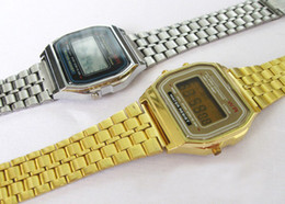 Wholesale Fold Change - Gold and Silver F-91W watches Fashion -thin LED Change Photoelectron watches Sport watch alarm clock 20pcs lot