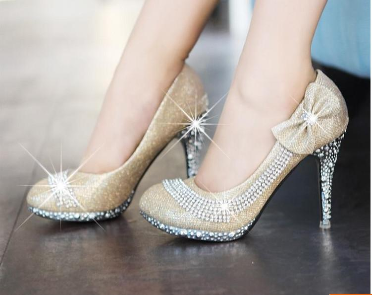 2012 HOT Sparkling Bridal Champagne High Heels Shoes Bowknot Wedding Party Shoe Size 34 39