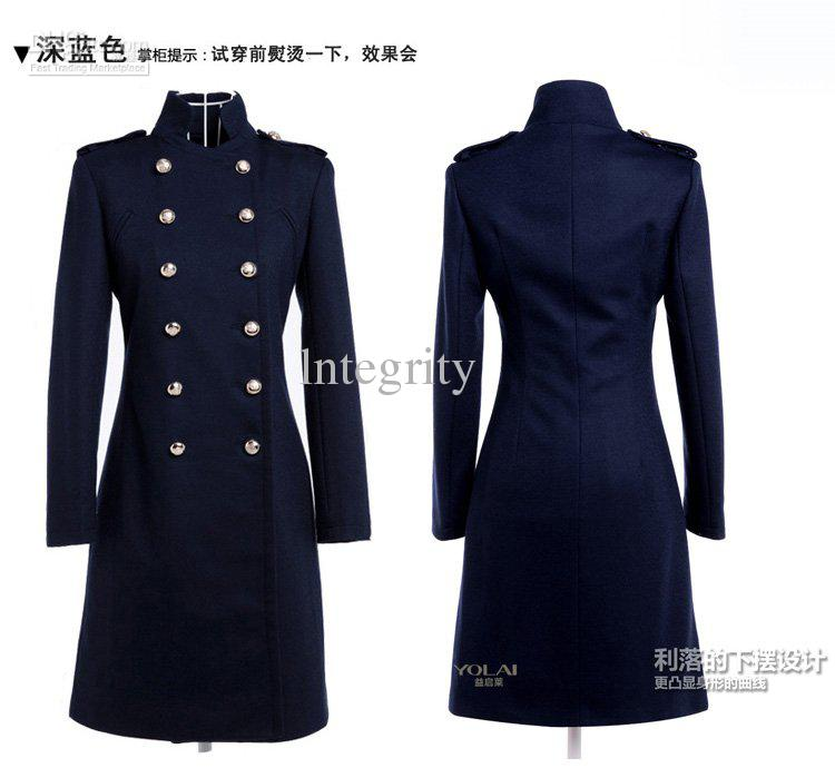 2017 Women'S Christmas New Cashmere Wool Coat Navy Blue And Long ...