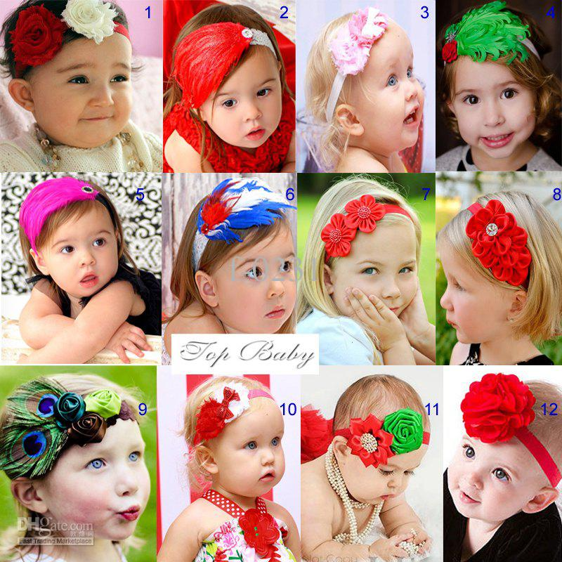 NEW Baby Headbands Christmas hair bands Feather headwear 12 color /30 pieces lot