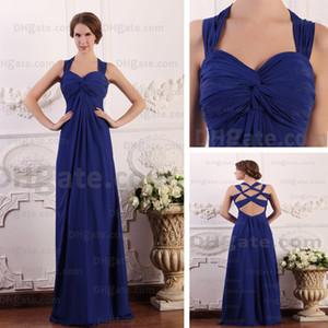 Wholesale 2012 Strap Sweetheart Evening Party Dresses Royal Blue Soft Chiffon Floor Length Real Actual Images