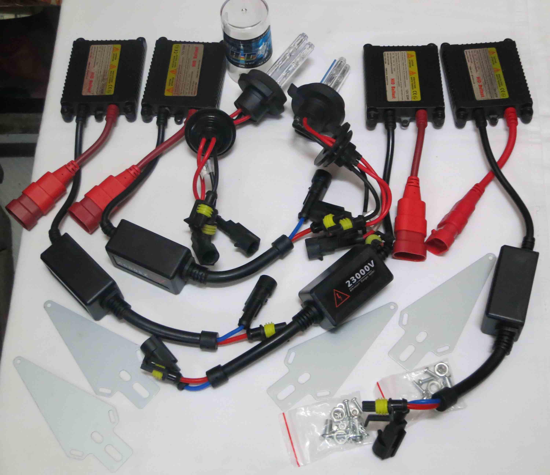 1 Takım 35 W H4-4 Ince Balastlar Çift Xenon Düşük Işın Yüksek Işın HID Kitleri H13-4 9004-4 9007-4 6 K 8 K 12 V