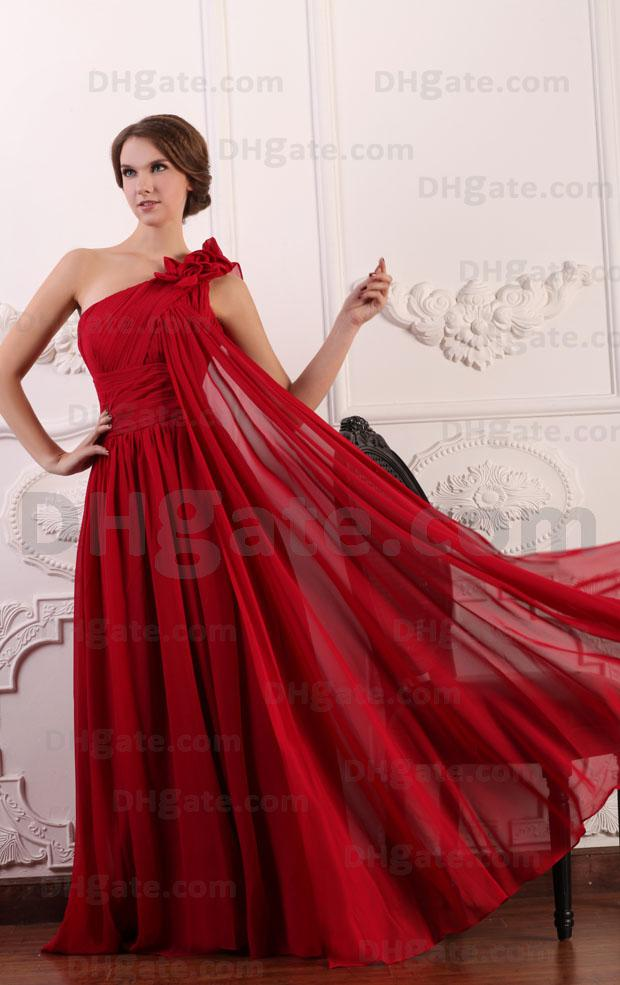 2015 Dark Red A Line Chiffon Evening Dresses Flowered One Shoulder ...