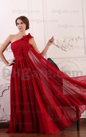 Wholesale Long Purple Chiffon Dressess - 2015 Dark Red A Line Chiffon Evening Dresses Flowered One Shoulder Ruched Prom Dressess MZ070