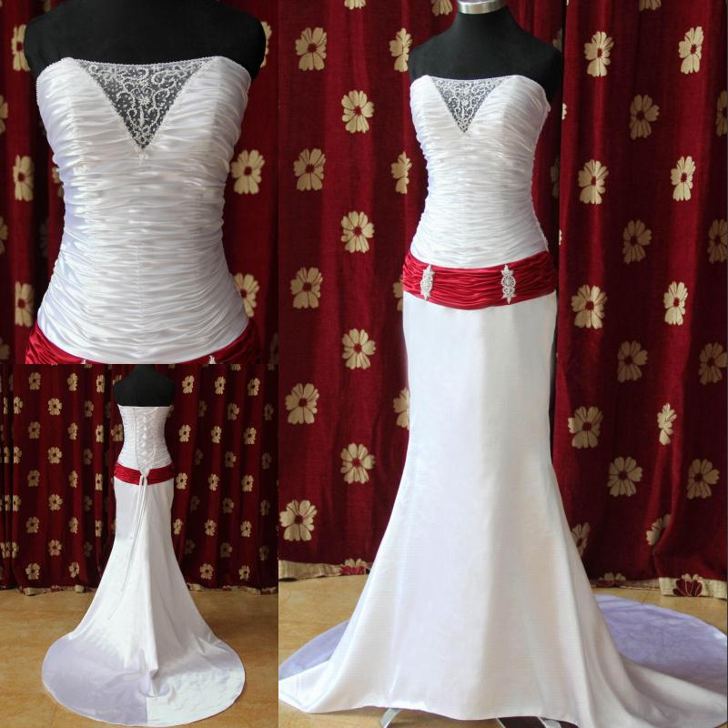 Discount Custom Made ! Red Belt Corset Top Elegant Wedding Dress ...