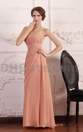 Wholesale Strapless Chiffon Sweetheart Evening Dress - 2015 Pink Evening Dresses Floor Length Beaded Train Strapless Chiffon A Line BY074 Dhyz 01