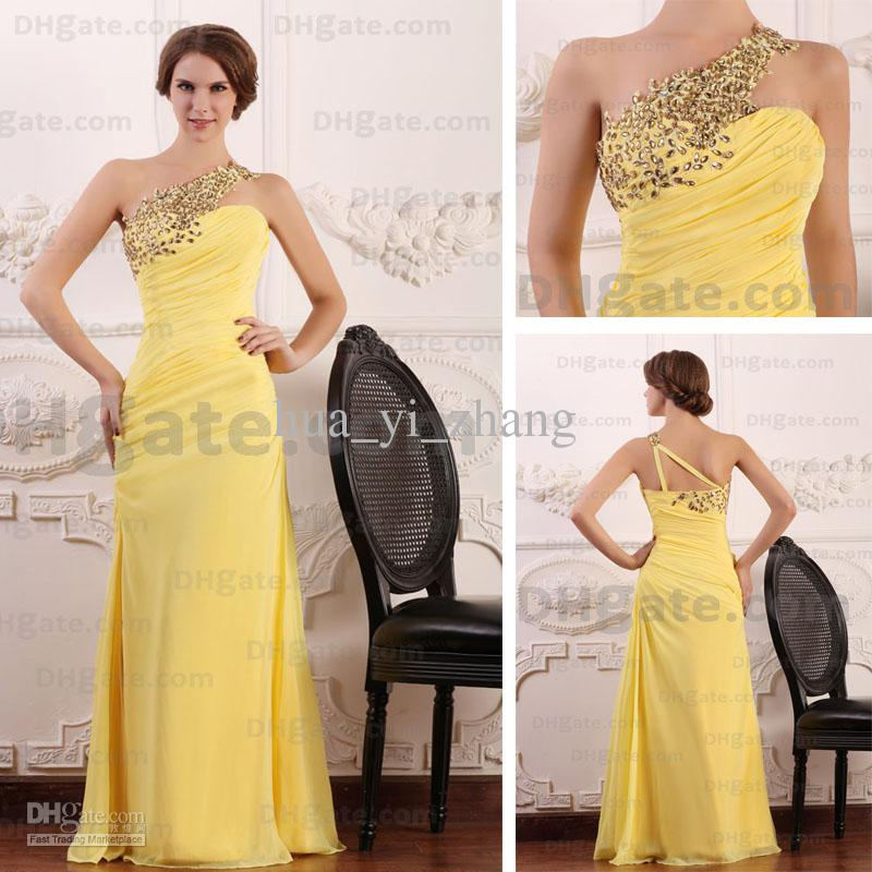 2015 Spring Fashion Evening Party Dresses One Shoulder Rhinestones ...