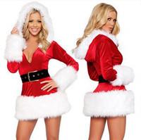 yılbaşı santa kostümleri uzun toptan satış-Bir boyut - Sexy Lingerie Seksi uzun kollu Santa Hoodie Kostüm noel üniforma parti elbiseler