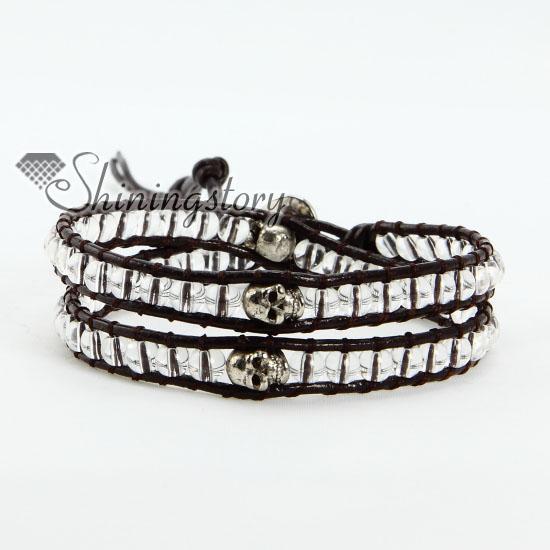 Elegante duplo envoltório de couro de cristal com contas de pérola de crânio de prata frisada amizade pulseiras ajustáveis