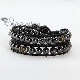 Wholesale Hematite Wrap - Volcanic stone and hematite beads double leather wrap beaded best friends bracelets jewellery