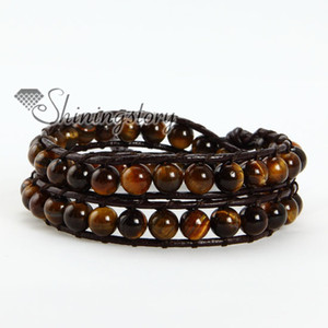 Wholesale Handsome double leather wrap tigereye bead beaded friendship bracelets jewellery adjustable
