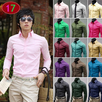 Wholesale Stylish Shirt Dresses - 2017 Newest Fashion Autumn Mens Shirt Candy Slim Fit Luxury Casual Stylish Dress Shirts 17 Colours Plus Sizes M-3XL