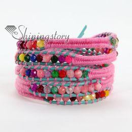Wholesale Bead Wrap Bracelet Jade - Popular style agate turquoise jade bead beaded friendship leather wrap bracelets adjustable jewelry