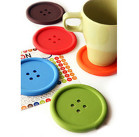 Wholesale Color Button Silicone Double sided Non slip Coaster Insulation pad Mats Bowl Disc Placemats