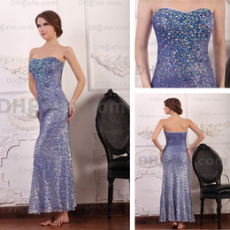 Wholesale Sequin Rhinestone Dressed - Strapless Luxury Purple Evening Party Dresses Sequins Blue Rhinestones Beaded Real Actual Images Dhyz 01