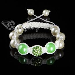 Wholesale Bracelet Balls String - shamballa bracelets Rhinestone disco ball pave beads pearl macrame bracelets white nylon string Shb051 handmade fashion jewellery