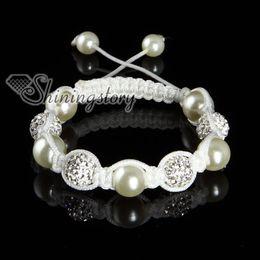 Wholesale Cheap Disco Ball Bracelets - shamballa bracelets rhinestone disco ball pave beads pearl adjustable macrame bracelets white nylon Shb054 cheap china fashion jewelry