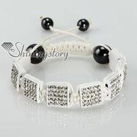 Wholesale Square Shamballa Bracelets - shamballa bracelets Rainbow color rhinestone square beads adjustable macrame bracelets jewelry Shb057 cheap fashion jewerly