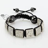 Wholesale Square Shamballa Bracelets - shambala shamballa bracelets Square beads shining rhinestone macrame bracelets jewelry bracelet Shb058 cheap fashion jewellery