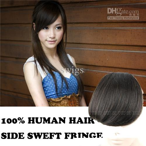 100 Human Hair Side Swept Fringe Bangs Clip In Hair Extensions