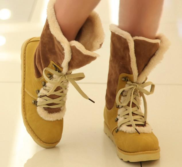 winter snow boots female boots cotton increased in flat Martin boots locomotive boots