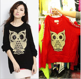 Wholesale Long Red Nails - women sweater autumn winter owl dew shoulder nail bead pullovers sexy sweaters black red XMAS