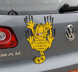 Wholesale Big Car Decals - Wholesale Big Size Garfield Car Warning Stickers 25*14cm Reflective Cool Funny Car Decals Stickers