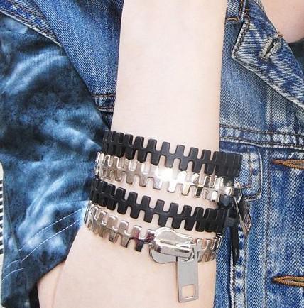 Ny Ankomst Vintage Punk Personlighet Zipper Armband Multicolor Stilfulla Kvinnor I lager Xmas Gåvor 20st /