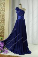 Wholesale Dresse Celebrity - Real Photos A-Line One-Shoulder Flower Sash Chiffon Prom Dresse Celebrity Dresses Evening Dresses