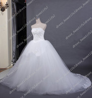 Wholesale New Actual Image Ball Gown - High Quality NEW Sexy Strapless Tulle Ball Gown Bridal Dresses Gown Wedding Gowns Wedding Dresses