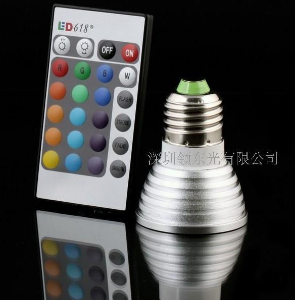 Groothandel dimbare geheugen LED-gloeilamp en afstandsbediening met 16 verschillende kleuren RGB via FedEx
