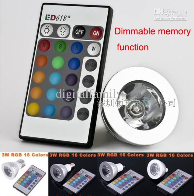 Memória de alta qualidade pode ser escurecido LED lâmpada de luz e controle remoto com 16 cores diferentes RGB 1pcs